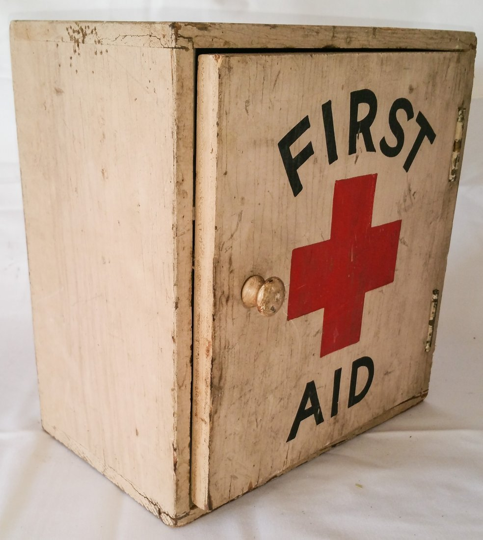 VINTAGE WOOD FIRST AID WALL BOX - 2