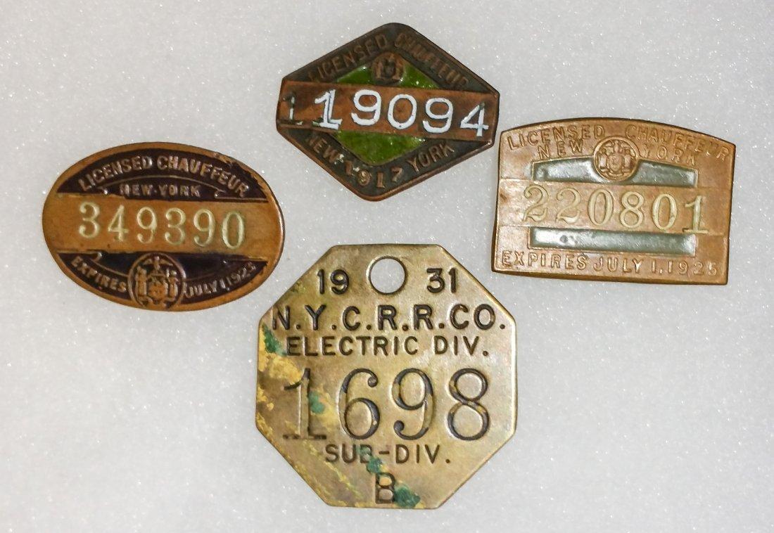 LOT 37A.  NY RAILROAD / CHAUFFEUR BADGE / TAG LOT
