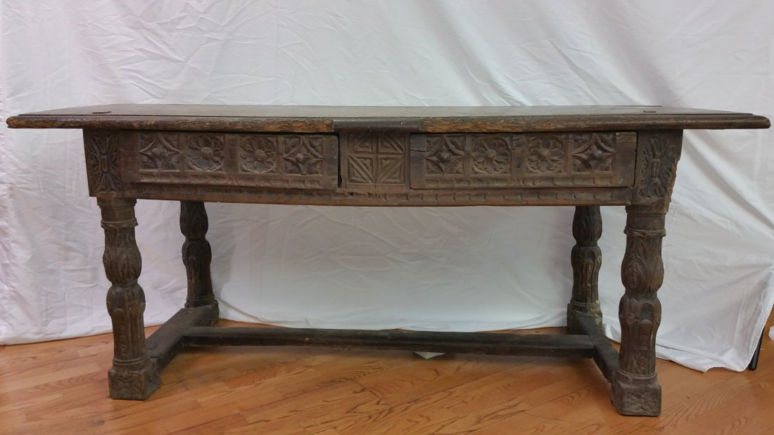 BAROQUE LIBRARY / PARTNER TABLE 16TH -17TH CENT WALNUT