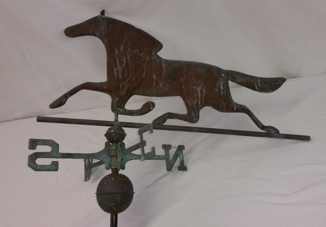 VERDIGRIS COPPER RUNNING HORSE WEATHER VANE
