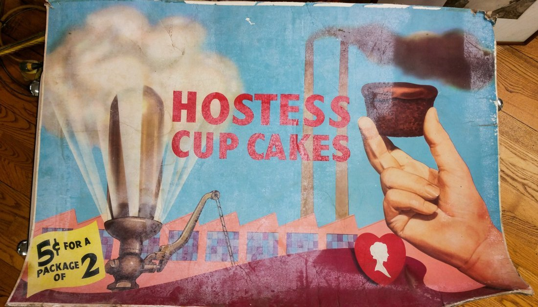 1931 VINTAGE HOSTESS ADVERTISING SIGN INDUSTRIAL THEME