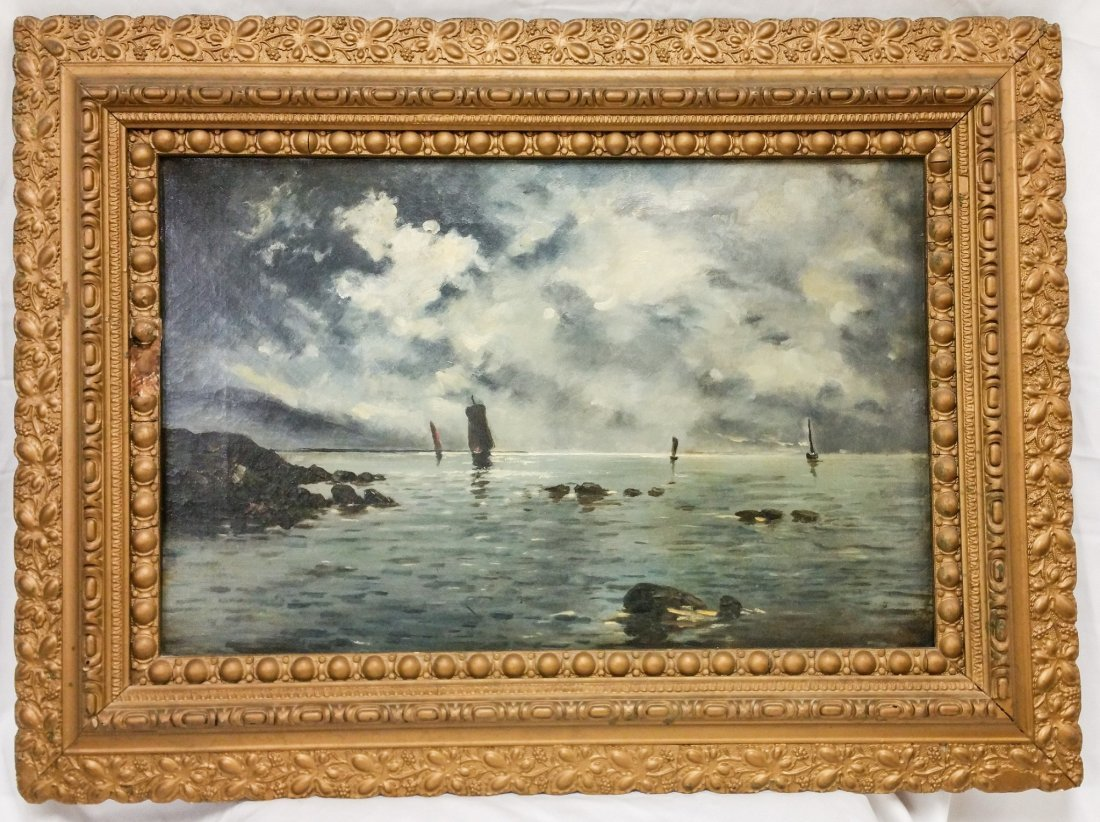 SAILBOATS IN STORMY HARBOR, ANTIQUE OIL ON CANVAS