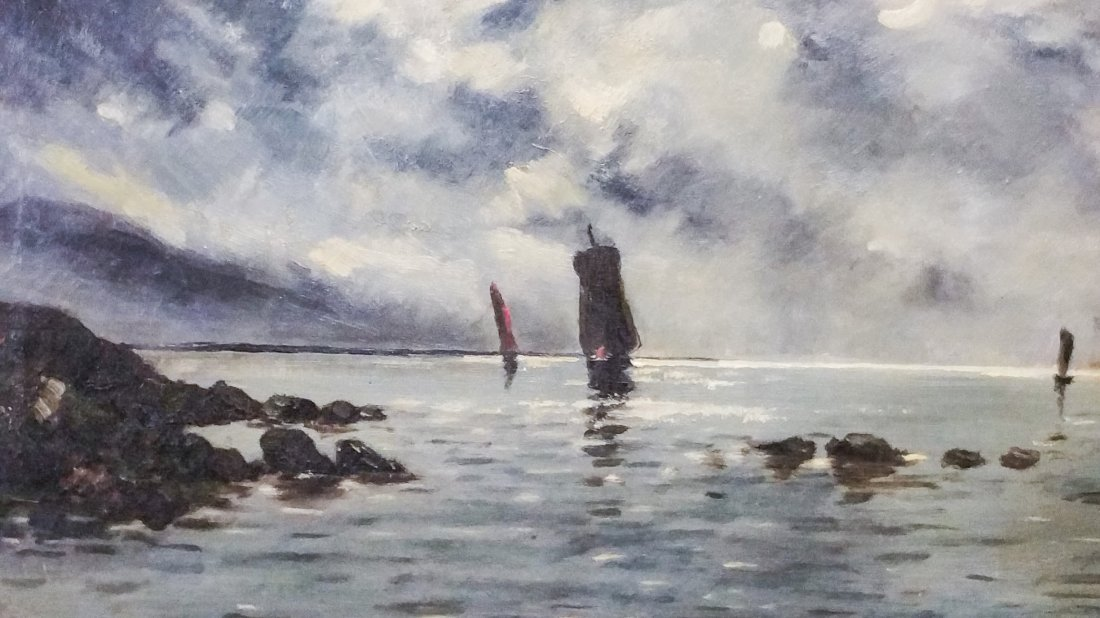 SAILBOATS IN STORMY HARBOR, ANTIQUE OIL ON CANVAS - 2