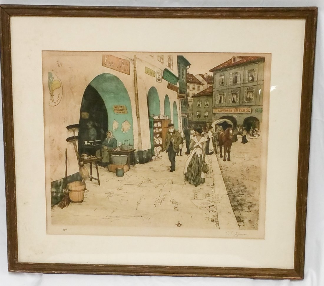 """""""FROM THE COAL MARKET, PRAGUE"""" SIGNED T.F SIMON"""