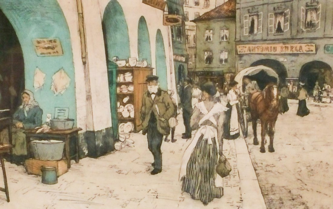 """""""FROM THE COAL MARKET, PRAGUE"""" SIGNED T.F SIMON - 2"""