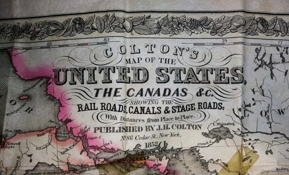 1852 CROTONS MAP OF THE UNITED STATES & CANADAS