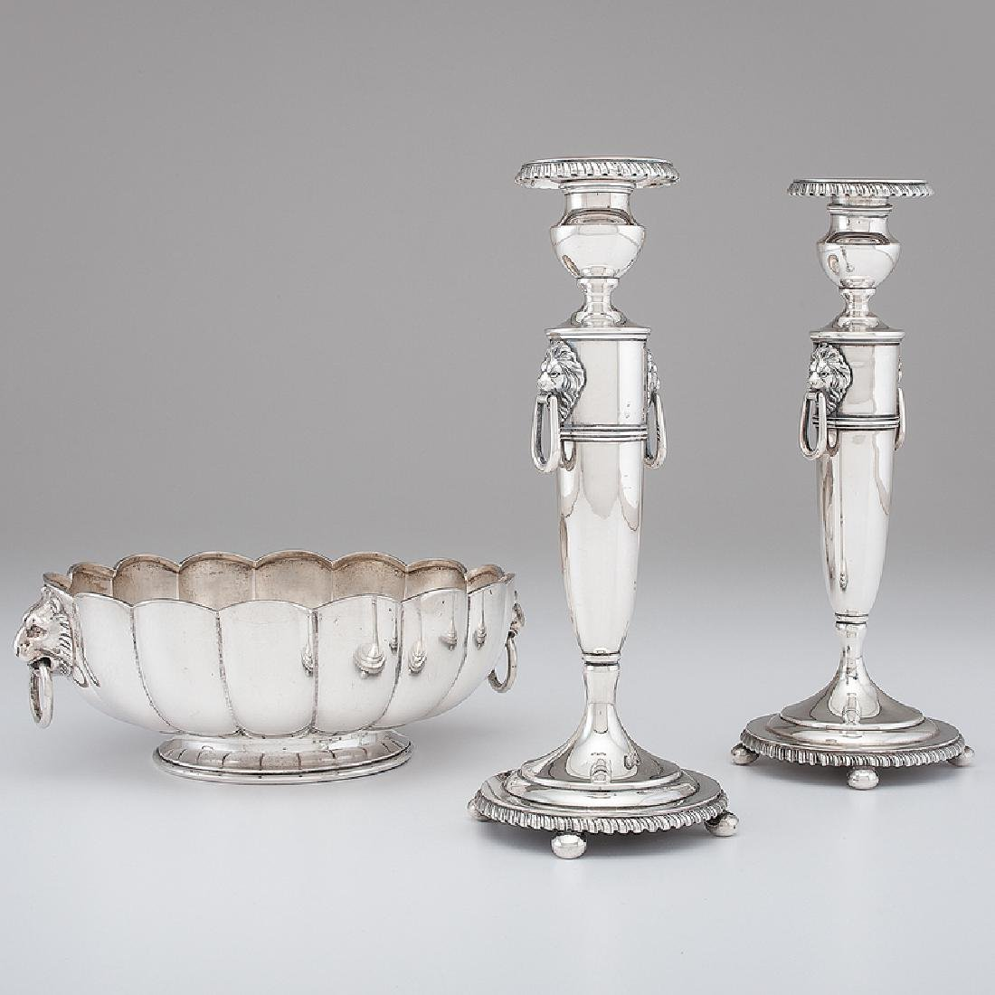 American Sterling Center Bowl and Candlesticks