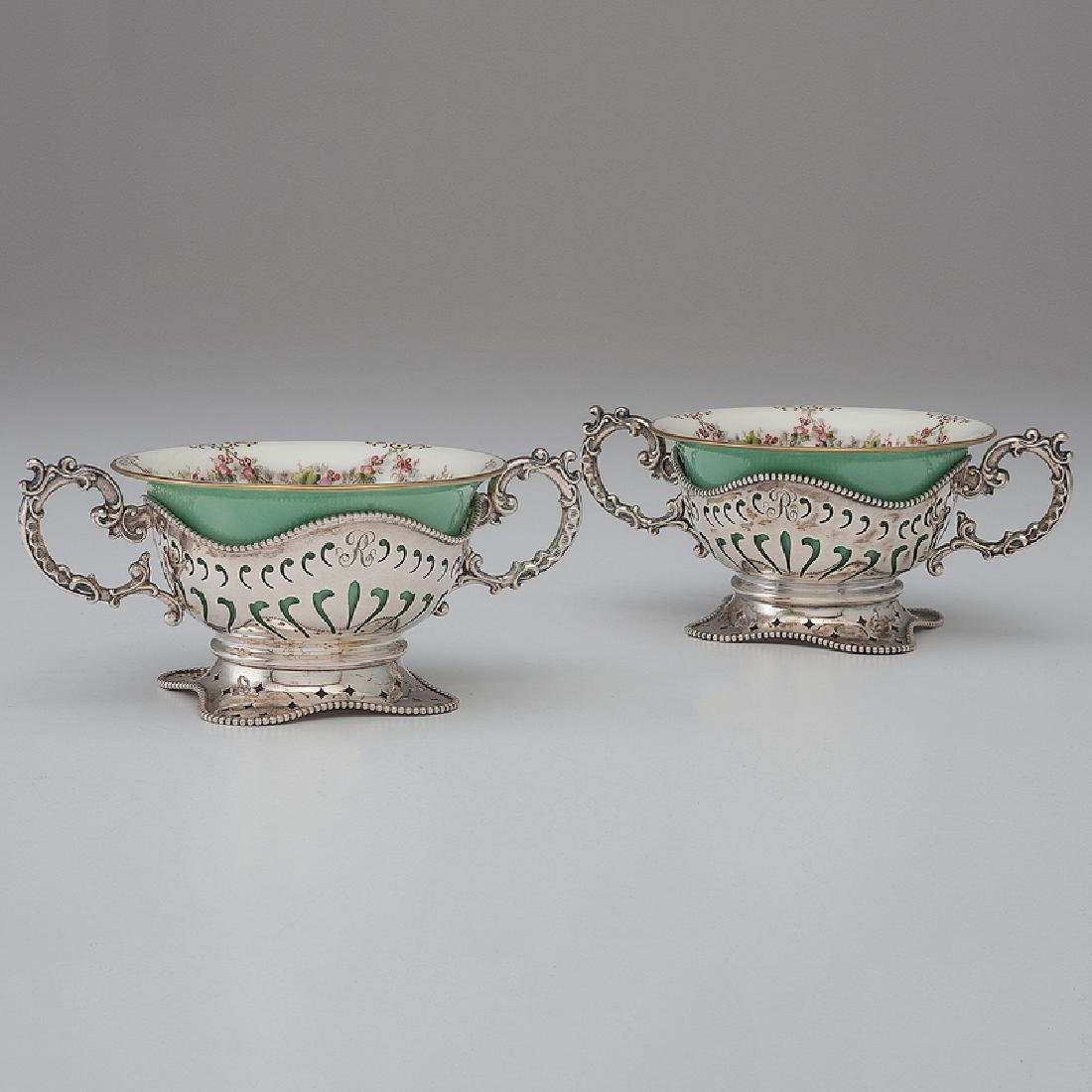 Mauser Sterling Bouillon Holders with Porcelain Cups