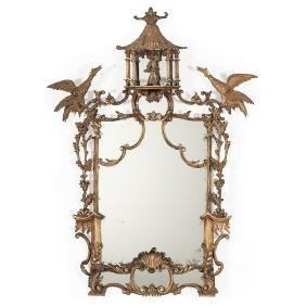 Fine Chinese-chippendale Gilt Mirror With Pagoda Top