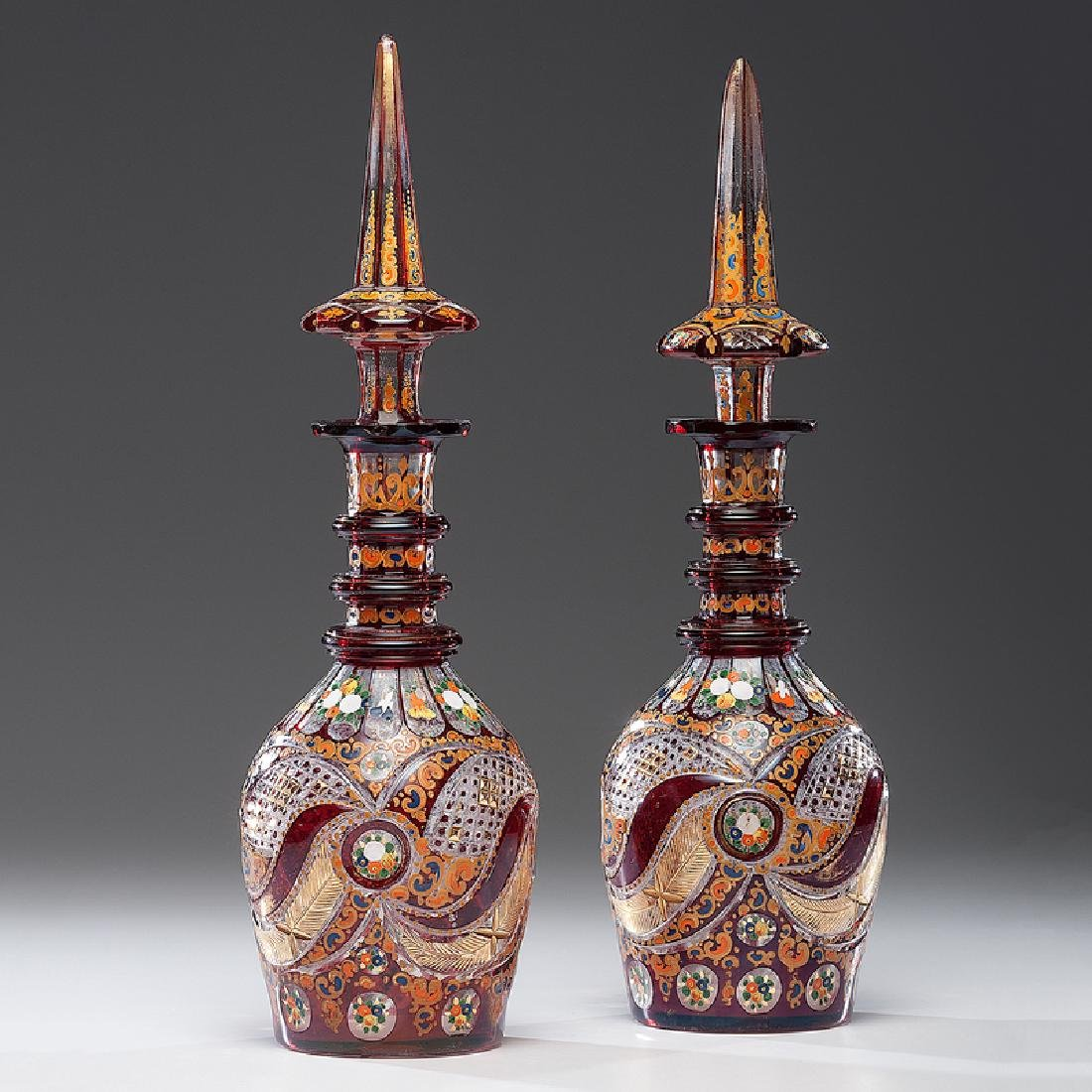 Bohemian Flashed Glass Decanters