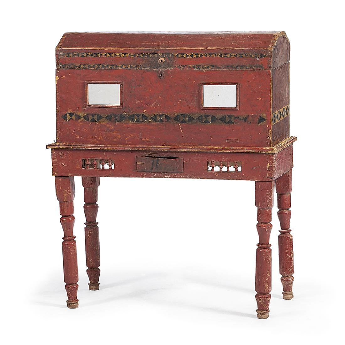 Spanish Colonial Painted Chest on Stand with Mirrors