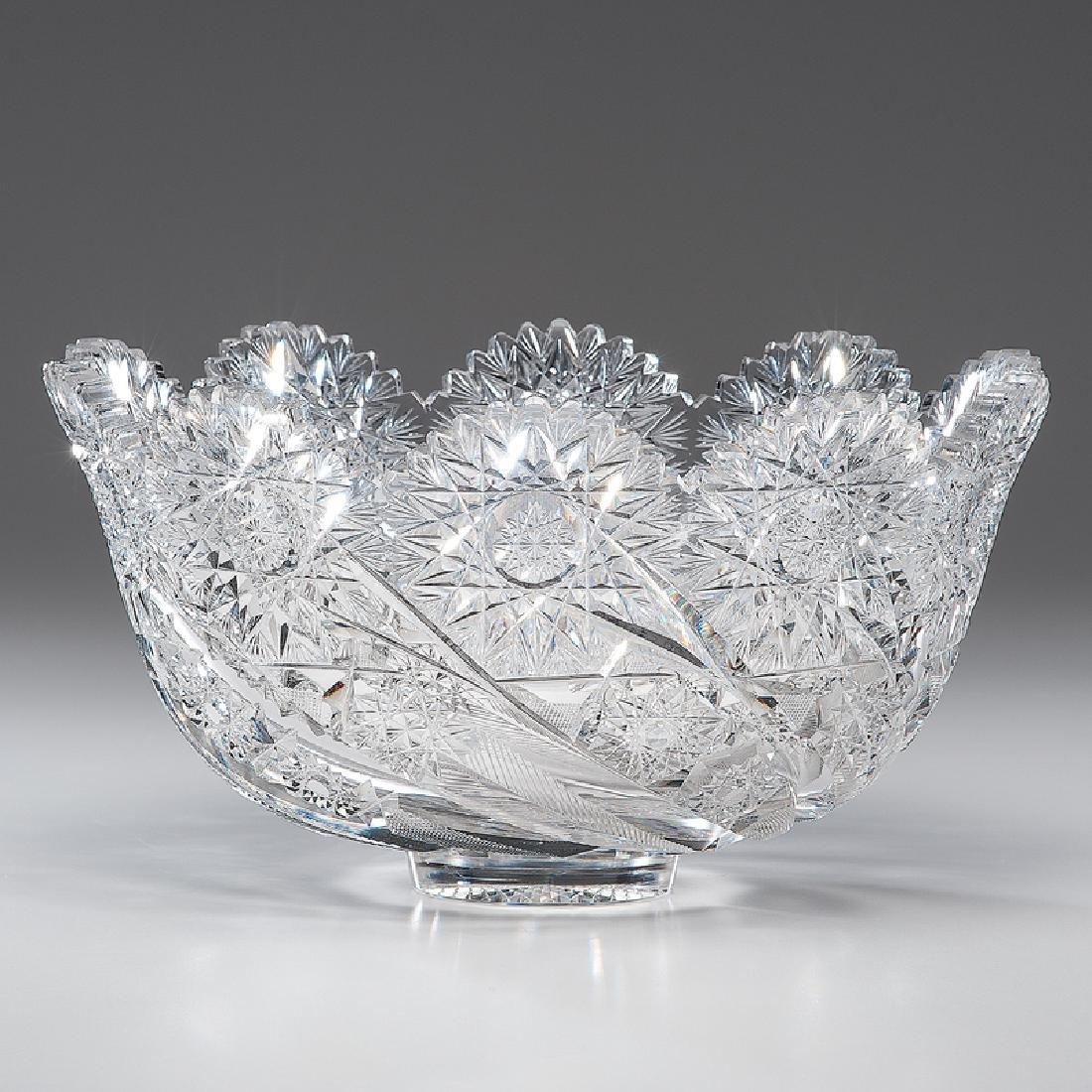 Libbey Brilliant Cut Glass Punch Bowl