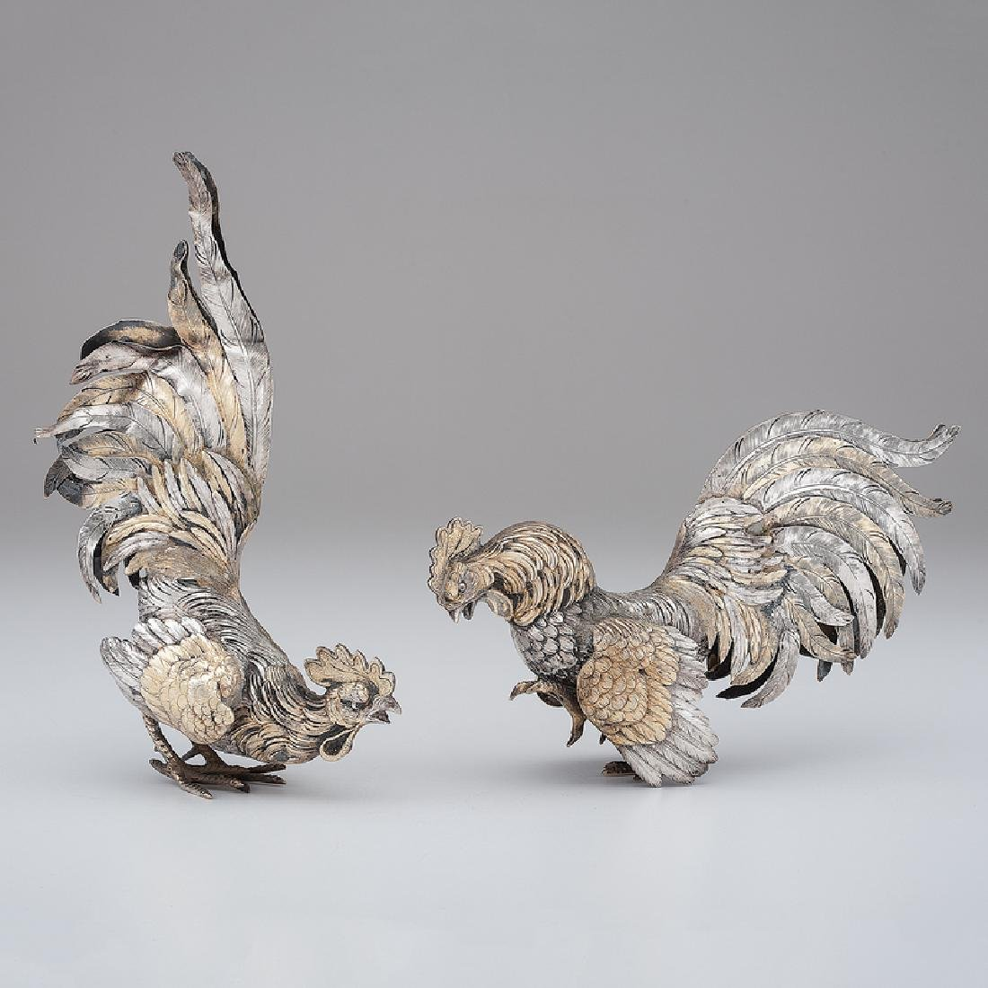 German Sterling Rooster Table Ornaments