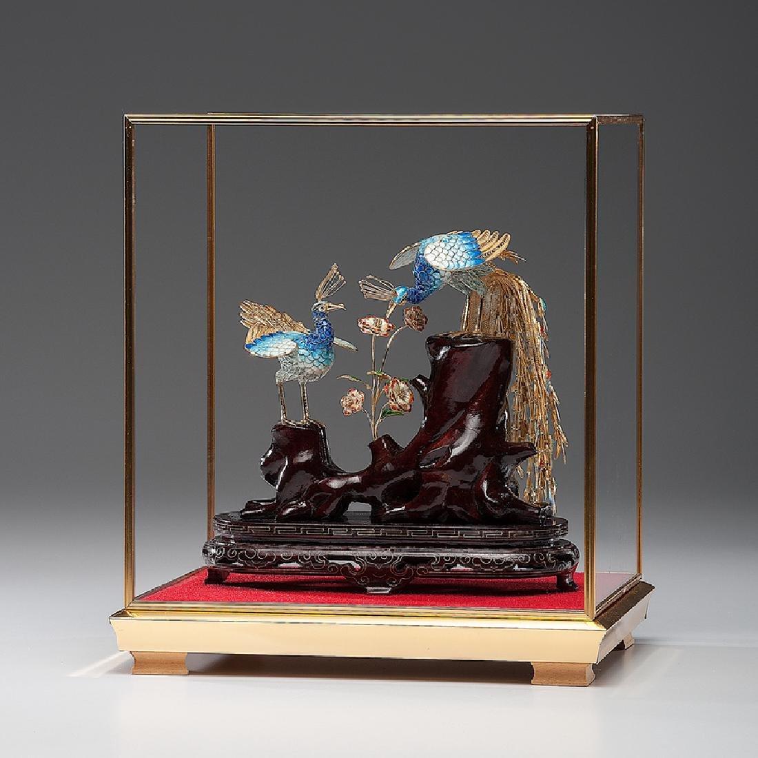 Chinese Enameled Silver Gilt Peacocks