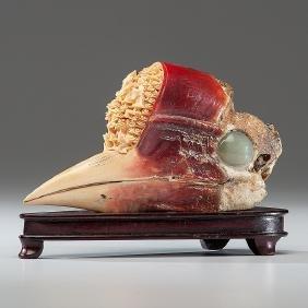 Chinese Carved Hornbill Skull