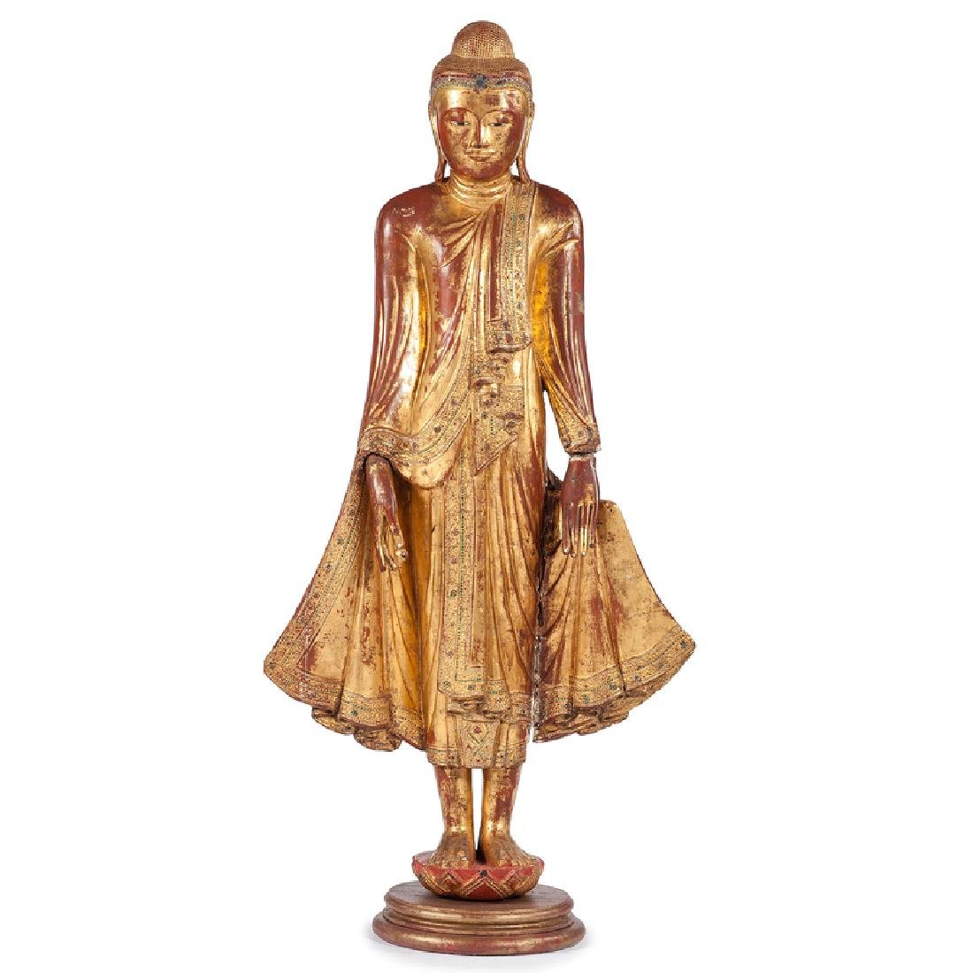 Gilt and Red Lacquer Standing Buddha