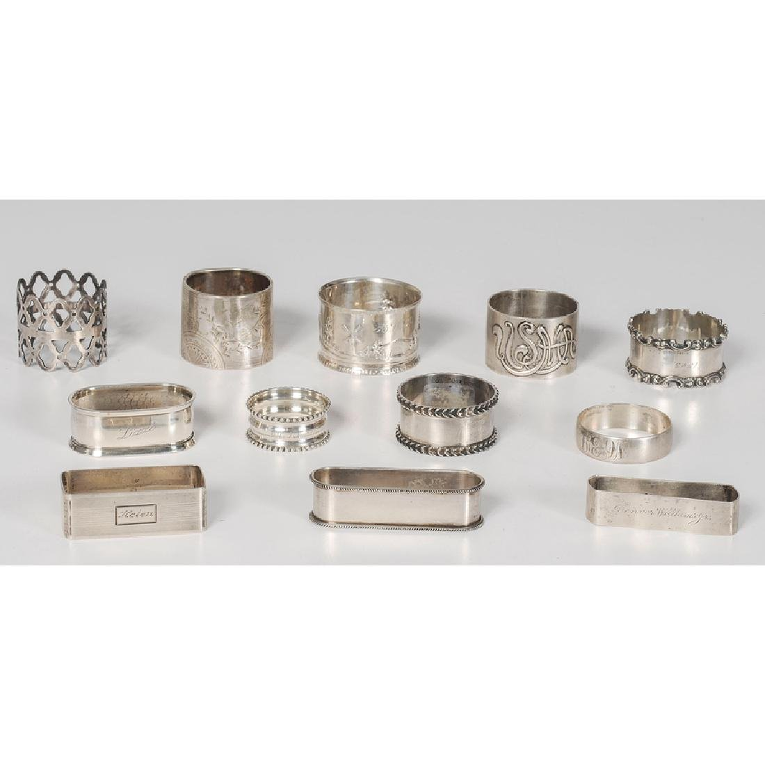 Sterling and Coin Napkin Rings, Including Gorham,