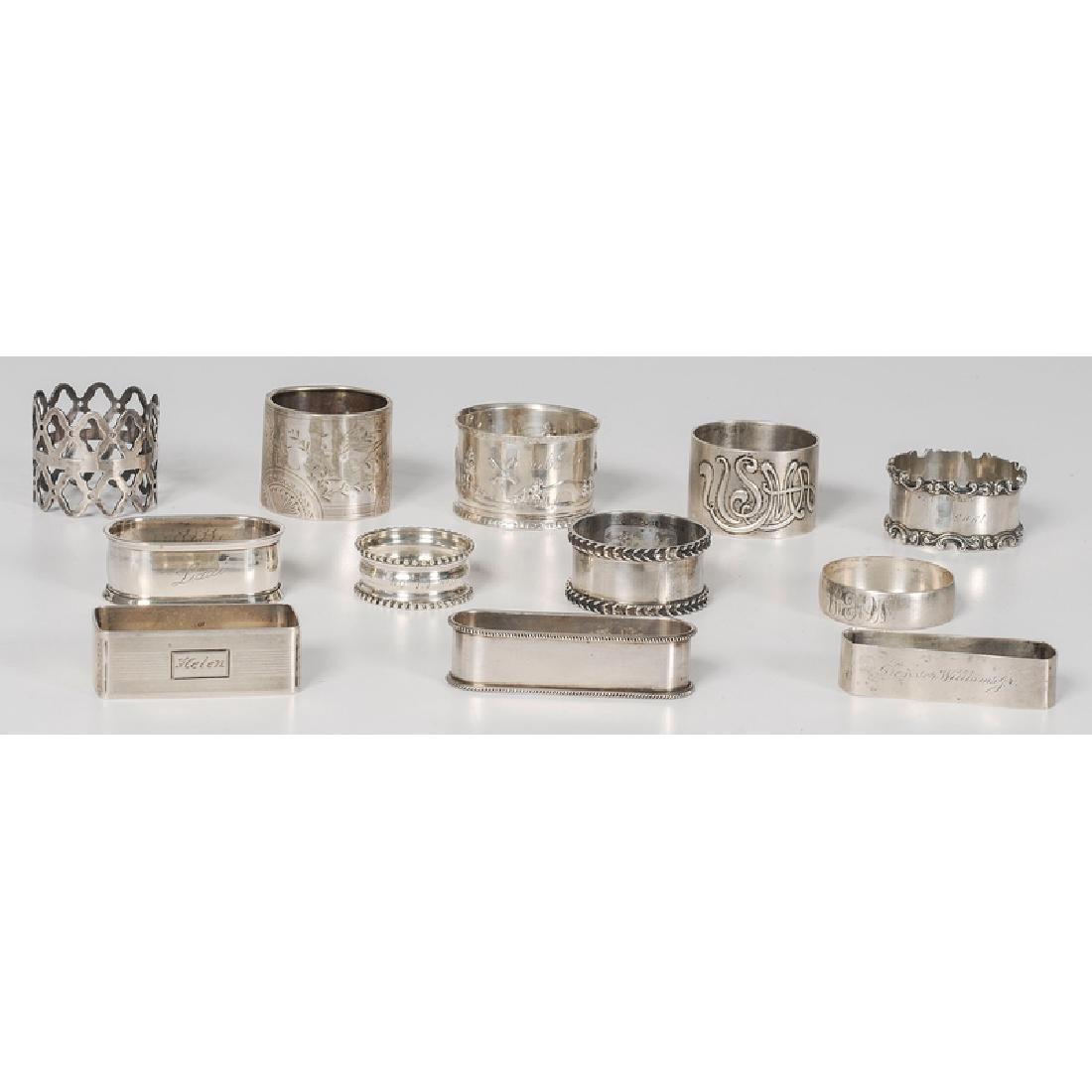 Sterling and Coin Napkin Rings, Including Gorham, - 2