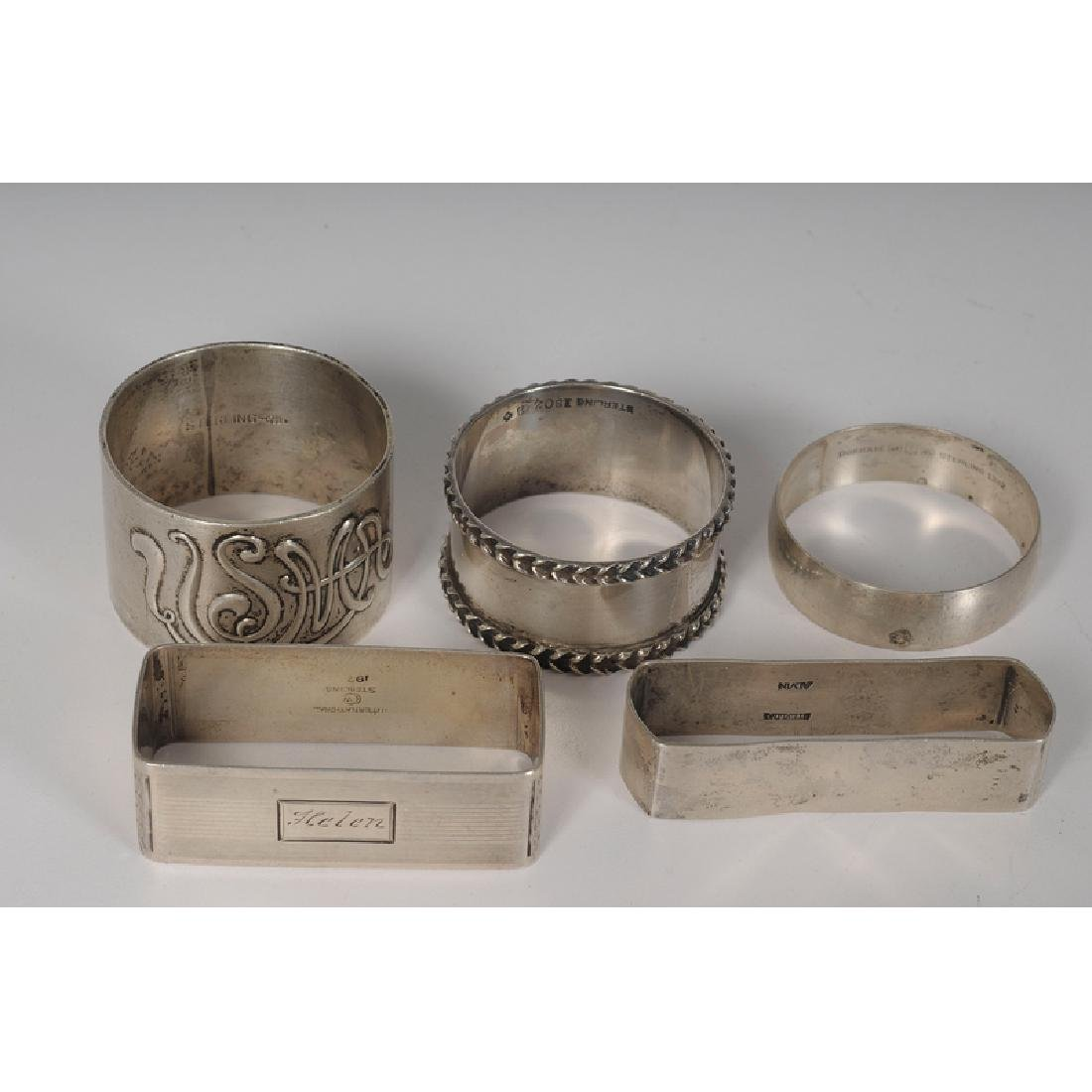 Sterling and Coin Napkin Rings, Including Gorham, - 3