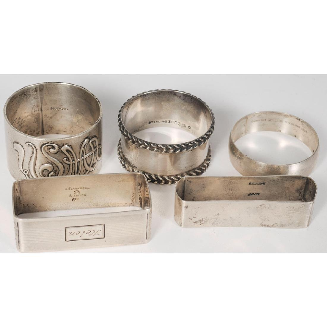 Sterling and Coin Napkin Rings, Including Gorham, - 4