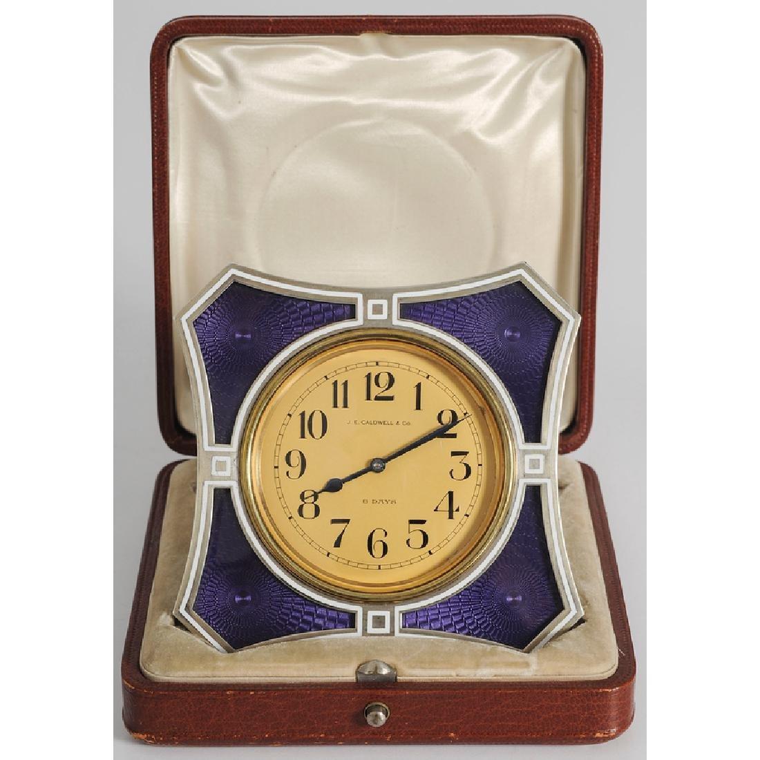 J. E. Caldwell Silver and Enamel Desk Clock
