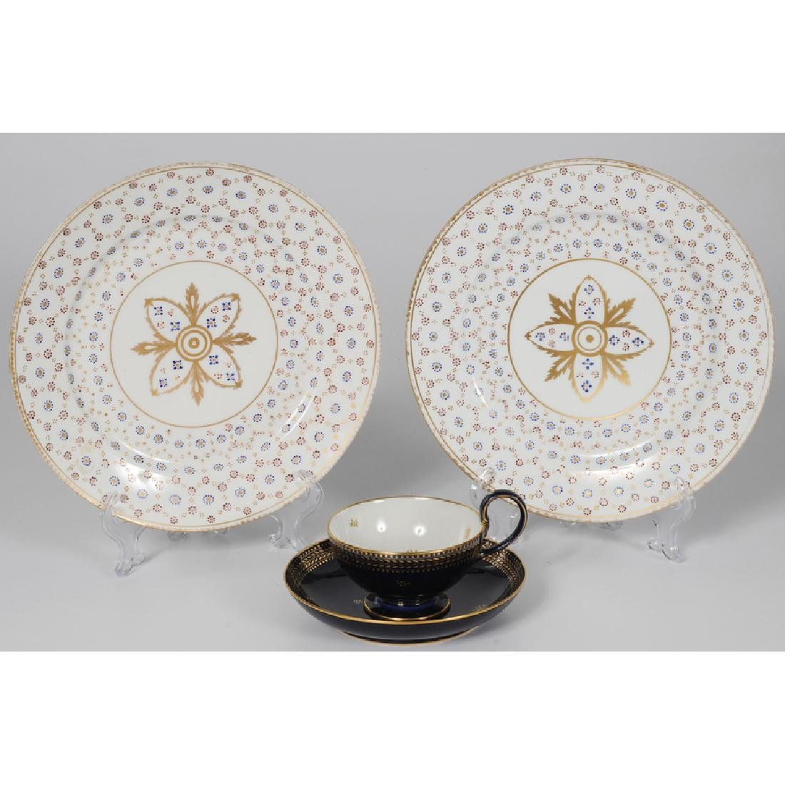Sèvres Cup and Saucer, and Plates