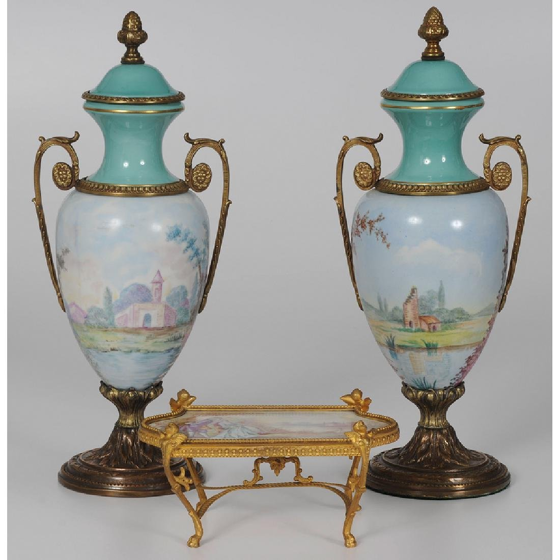 Sèvres Style Urns and Diminutive Table - 2