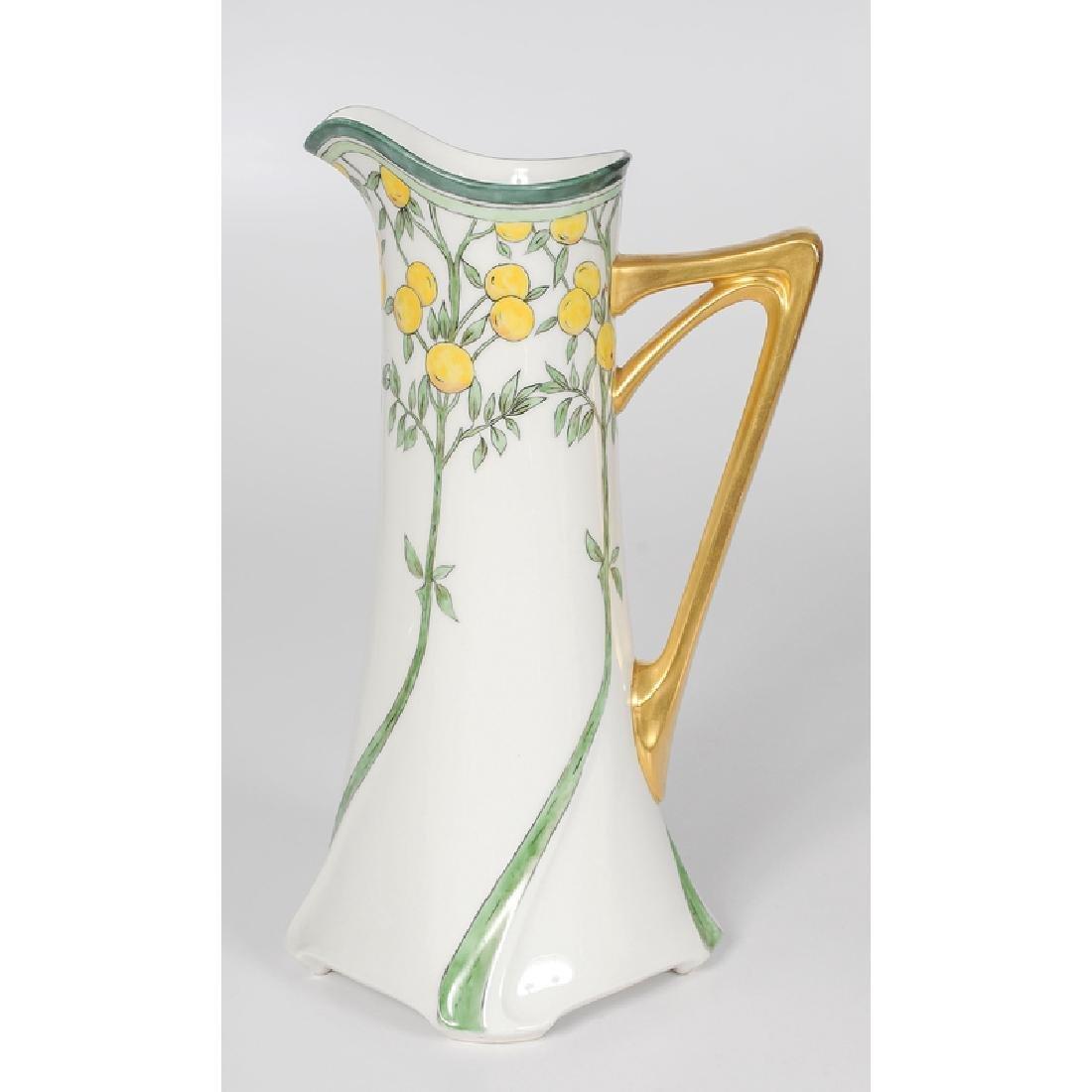 Limoges, Jean Pouyat Art Nouveau Form Porcelain Pitcher