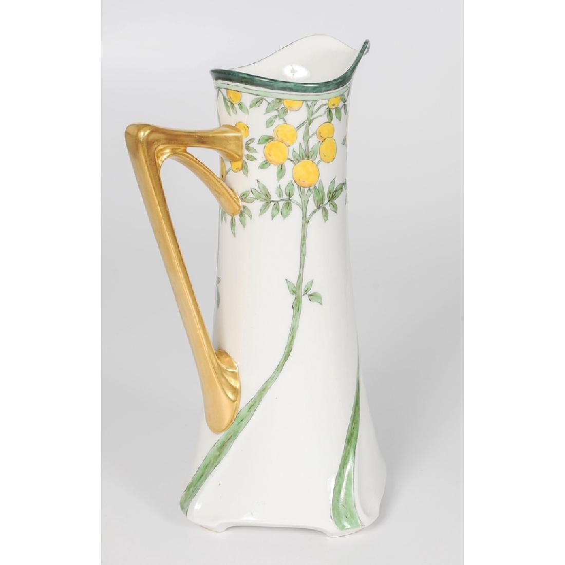 Limoges, Jean Pouyat Art Nouveau Form Porcelain Pitcher - 2