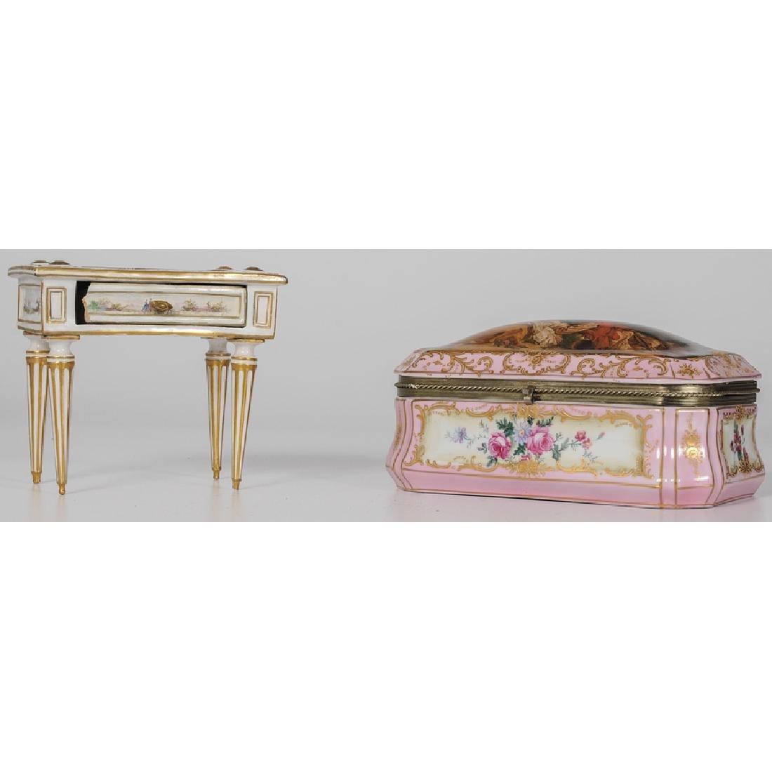 Marseilles Faience Diminutive Desk and Porcelain