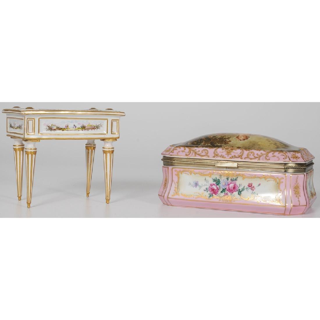 Marseilles Faience Diminutive Desk and Porcelain - 3