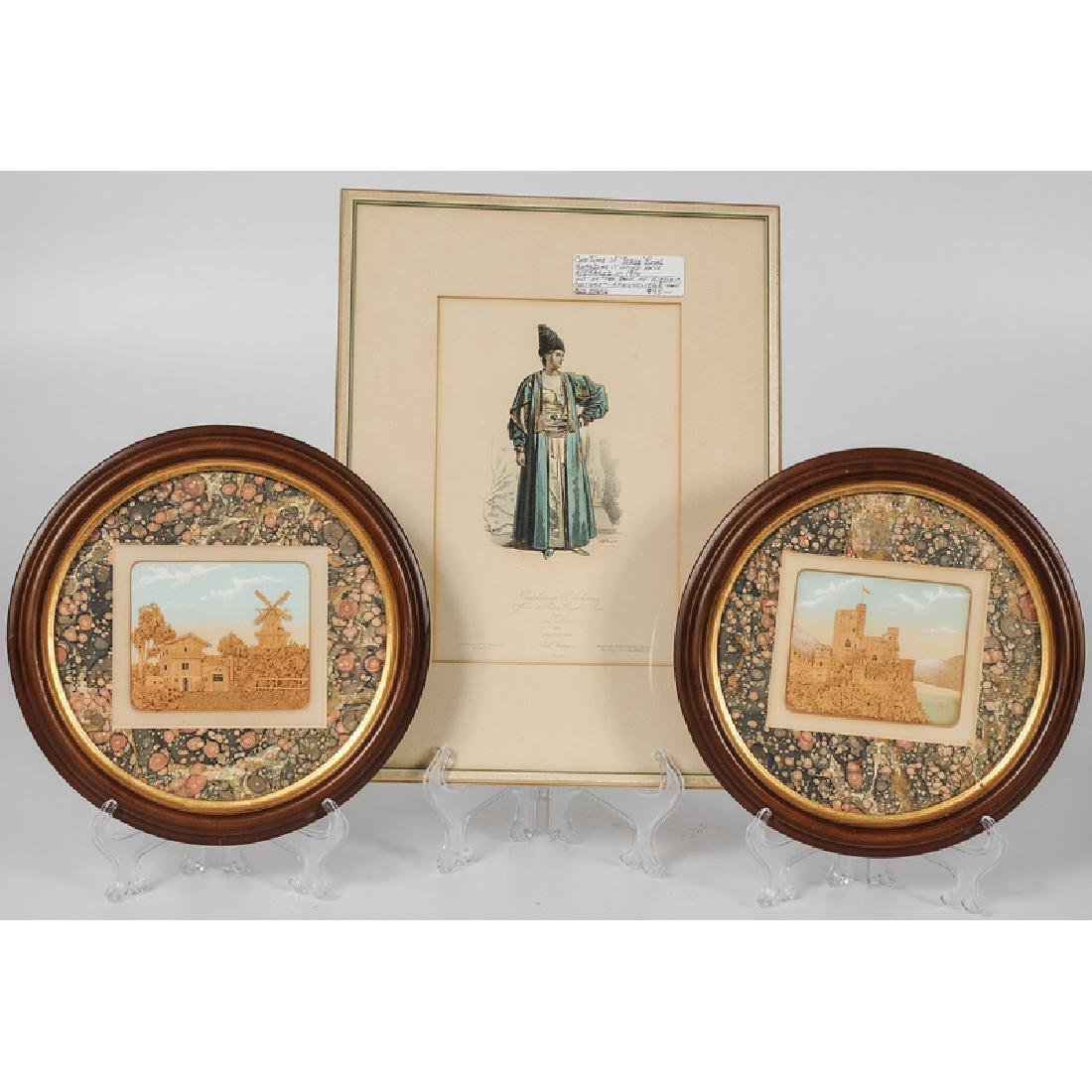 Victorian Watercolor and Carved Cork Pictures, Plus - 2