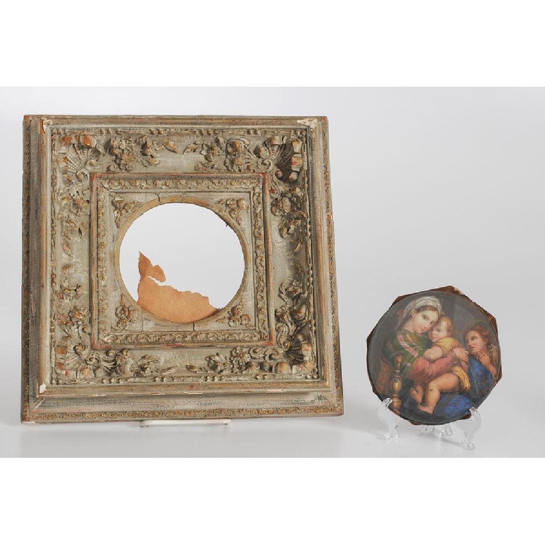 Painted Copper Medallion with Religious Scene