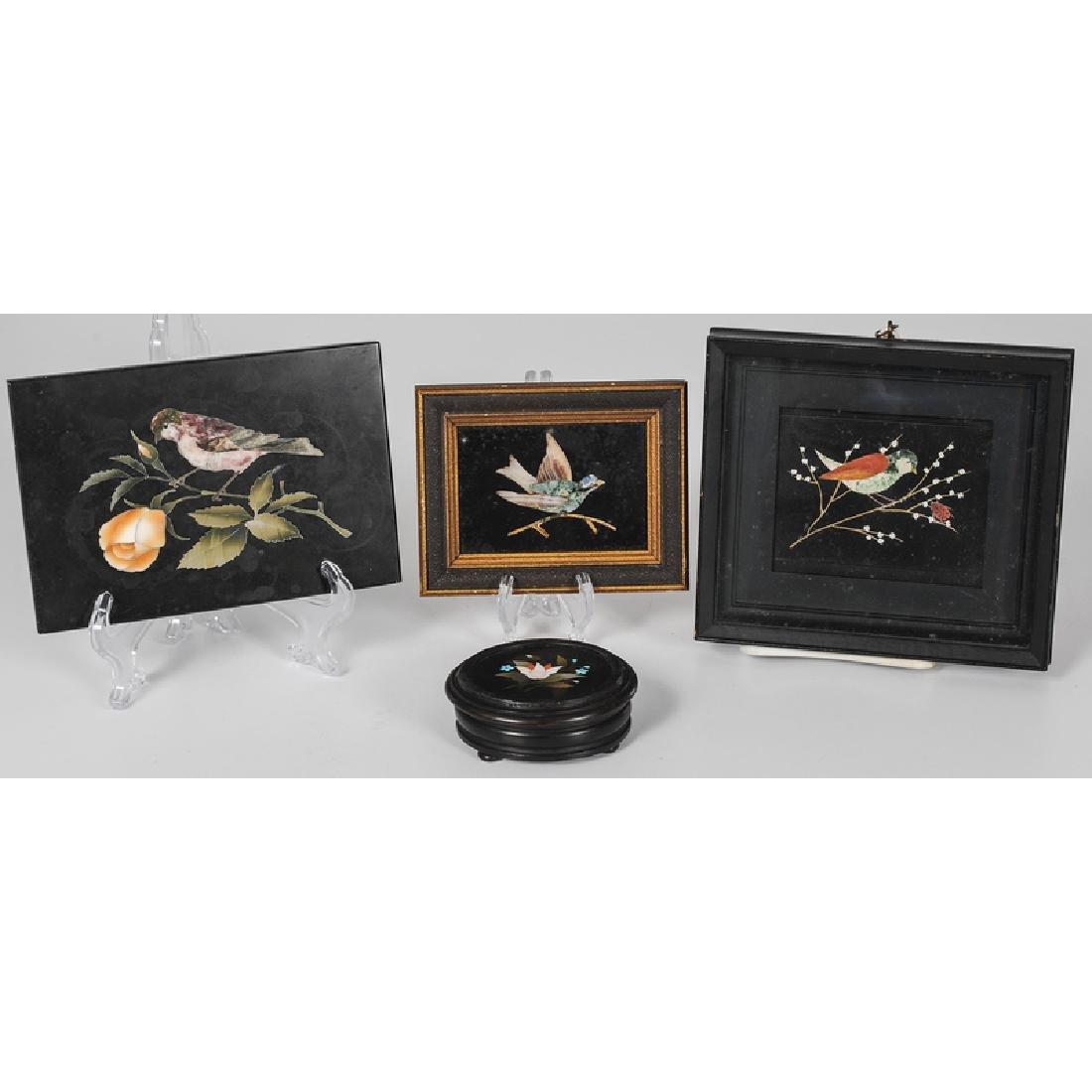 Pietra Dura Bird Plaques and Floral Box