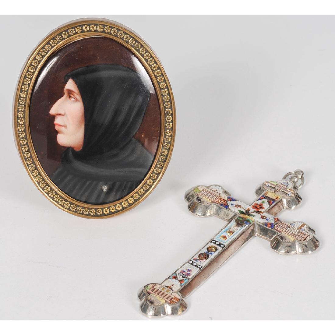 Italian Micro-Mosaic Cross and Miniature on Porcelain
