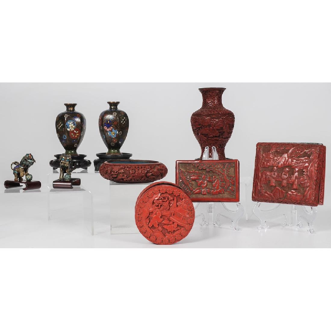 Chinese Assorted Cinnabar and Metalware Vessels and