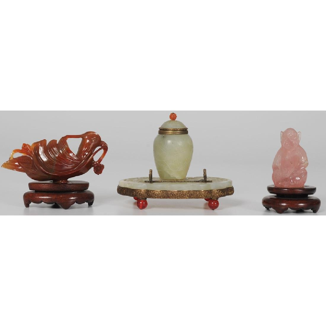 Chinese Carved Jade and Brass Inkwell and Stand, Plus