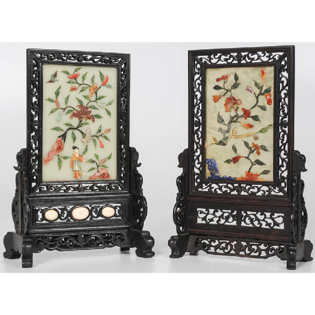 Chinese Hard Stone Screen in Rosewood Stands
