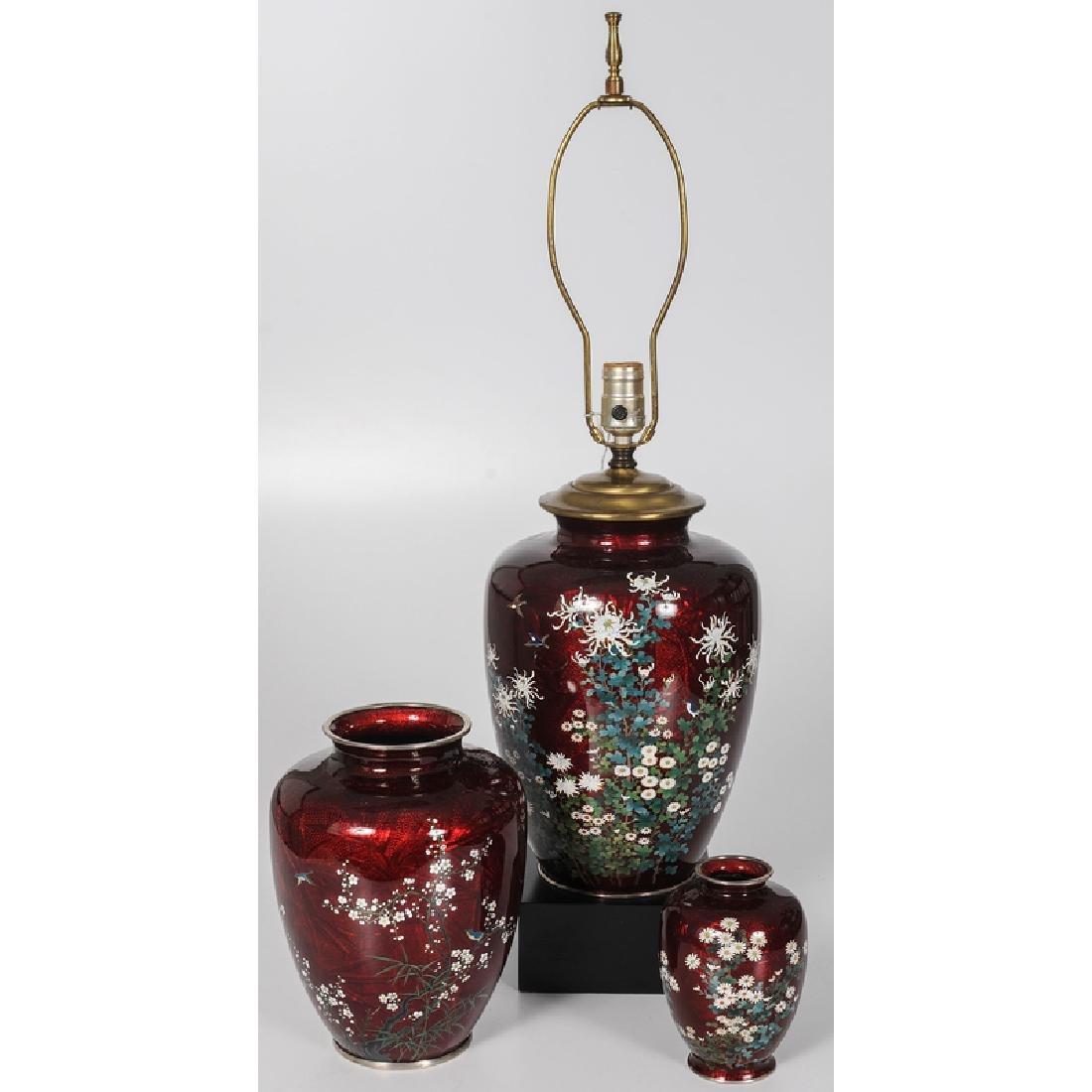 Japanese Guilloché Enamel Vases and Lamp