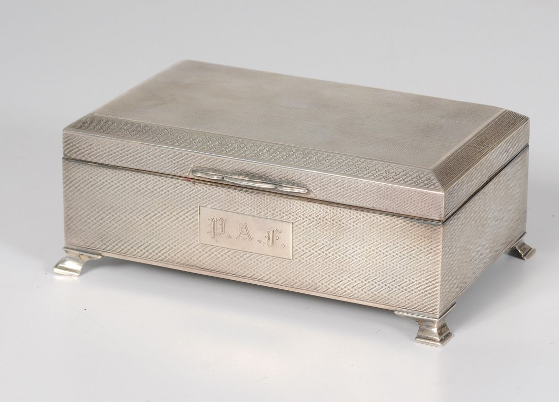 English Footed Sterling Silver Cigarette Box by Bert