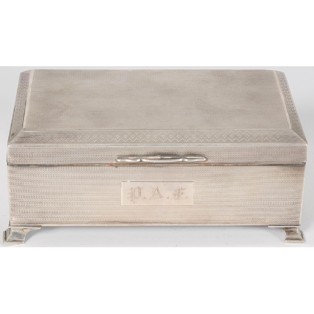 English Footed Sterling Silver Cigarette Box by Bert - 2