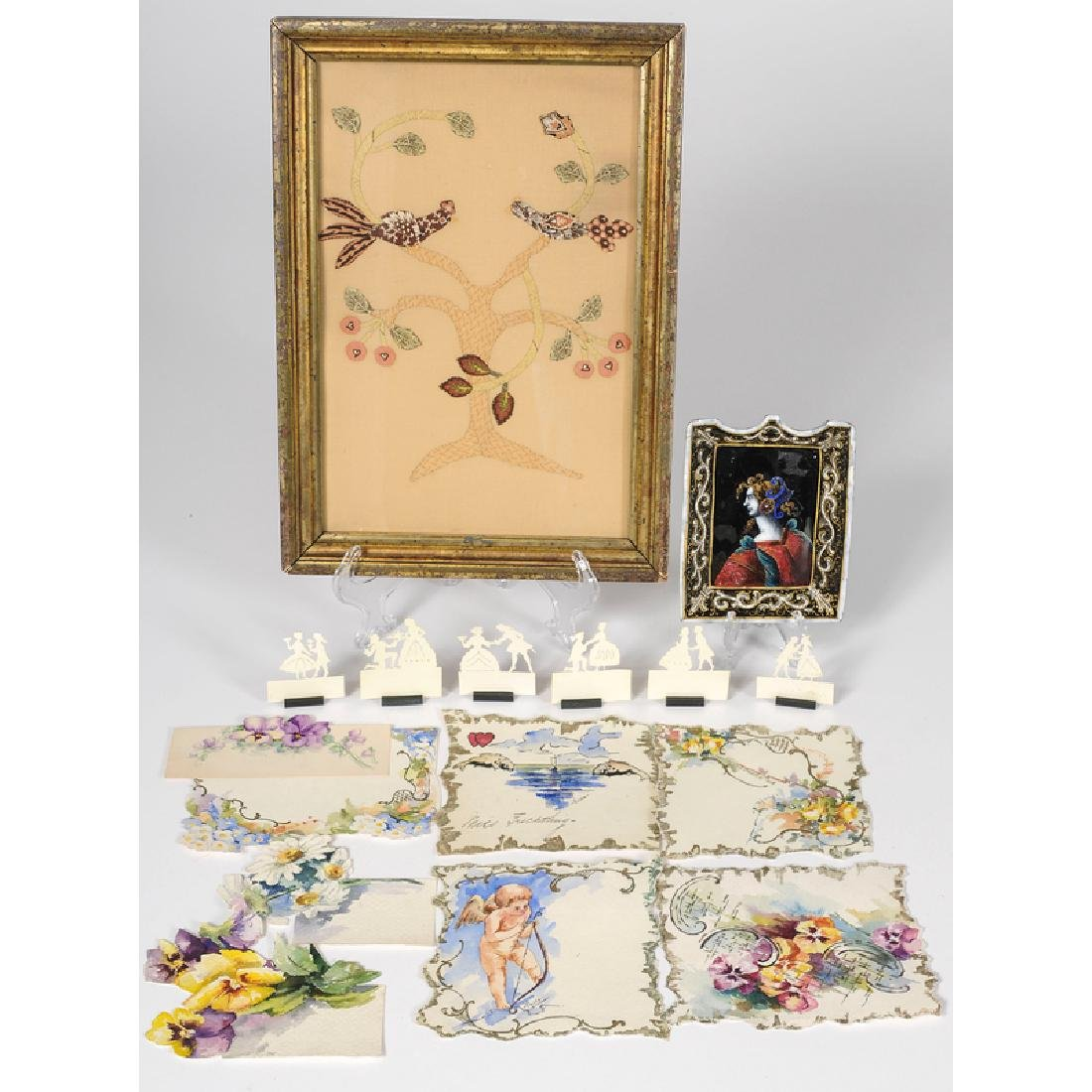 Austrian Placecard Holders, French Enamel Calling Card