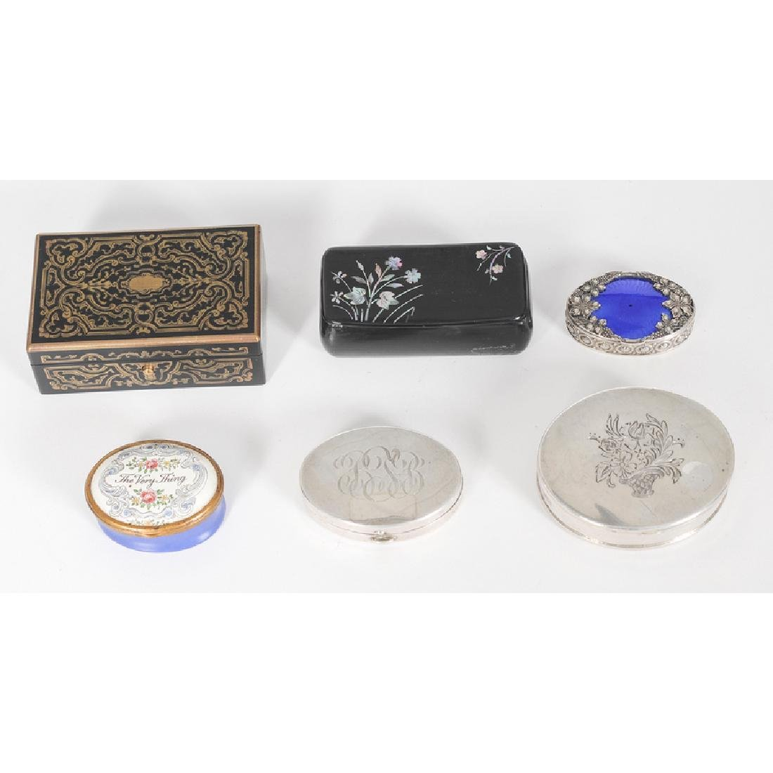 Snuff and Pill Boxes, Including Sterling and Lacquer