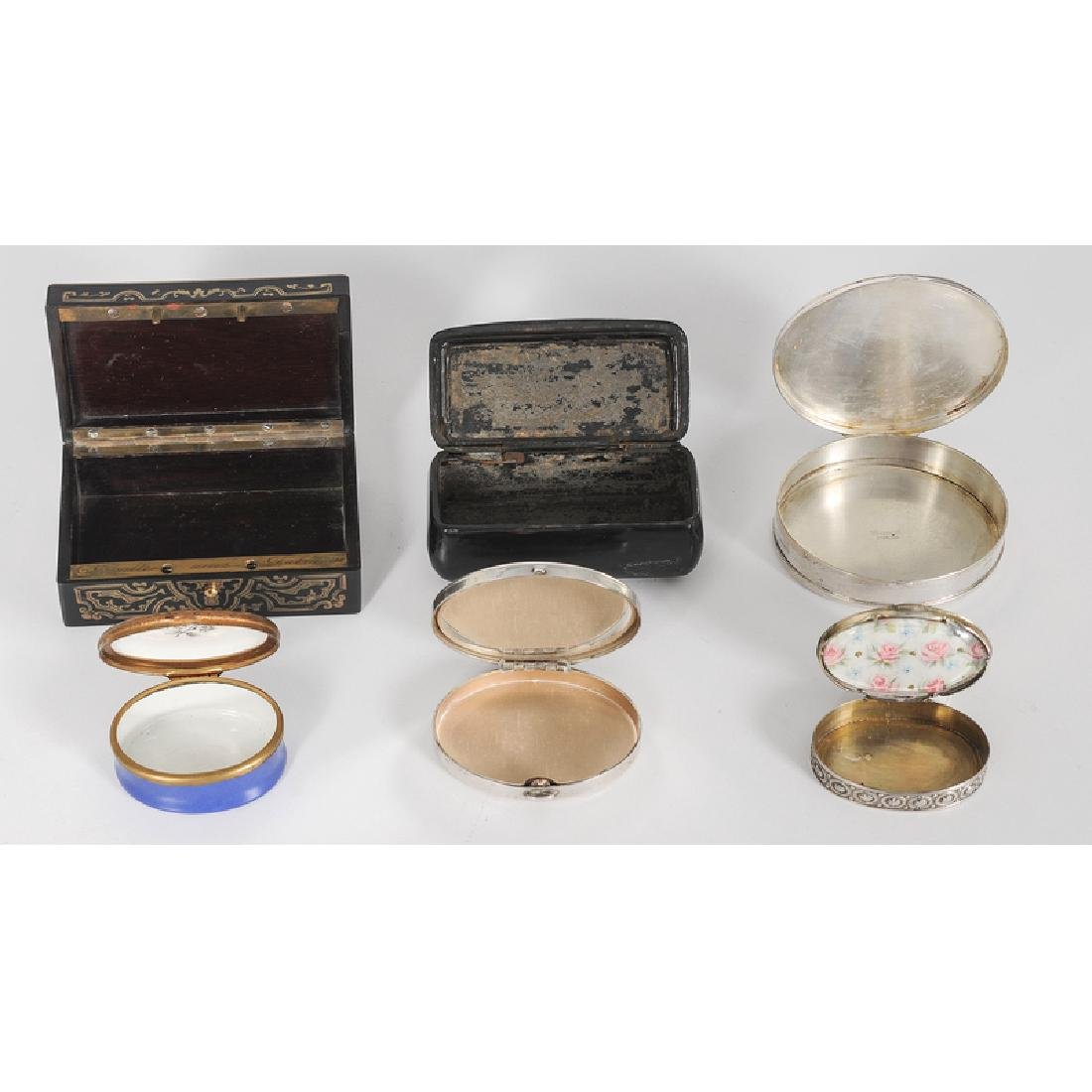 Snuff and Pill Boxes, Including Sterling and Lacquer - 2