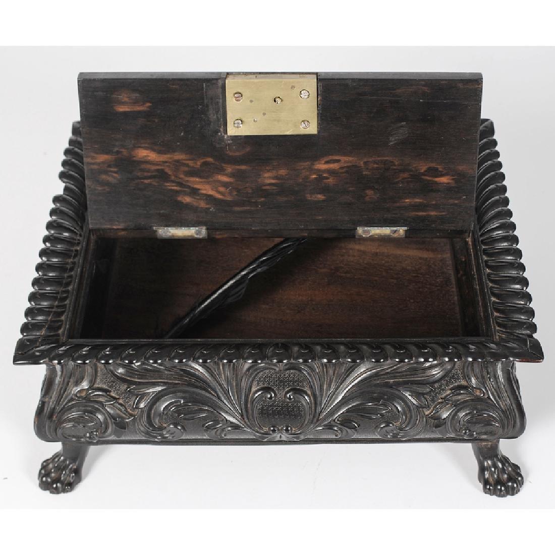 Carved and Ebonized Rosewood Writing Box - 2