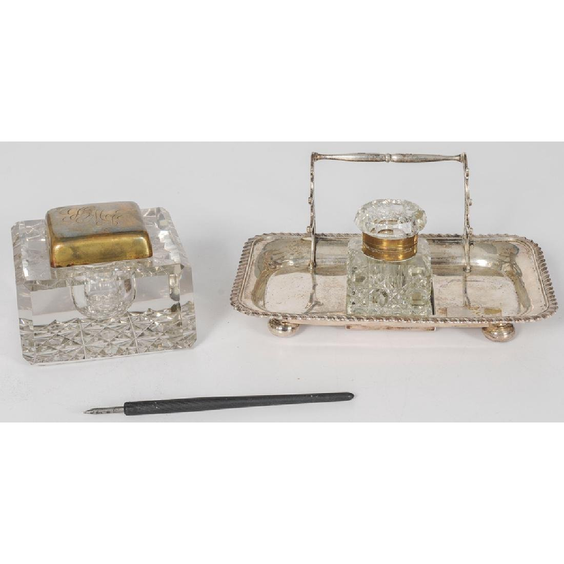 Stokes and Ireland Sterling Inkwell Stand and Glass