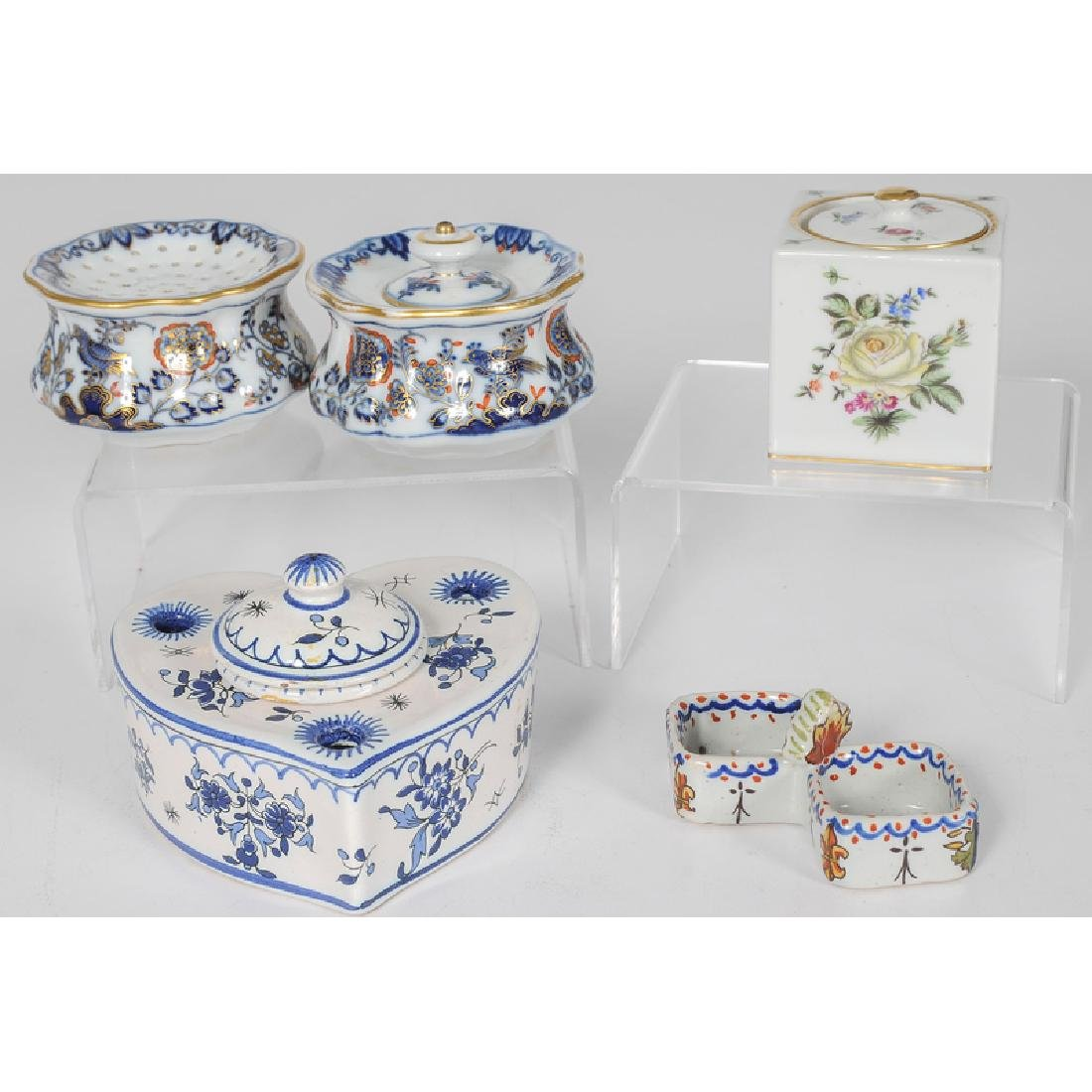 Meissen, Herend and French Faience Inkwells, Plus