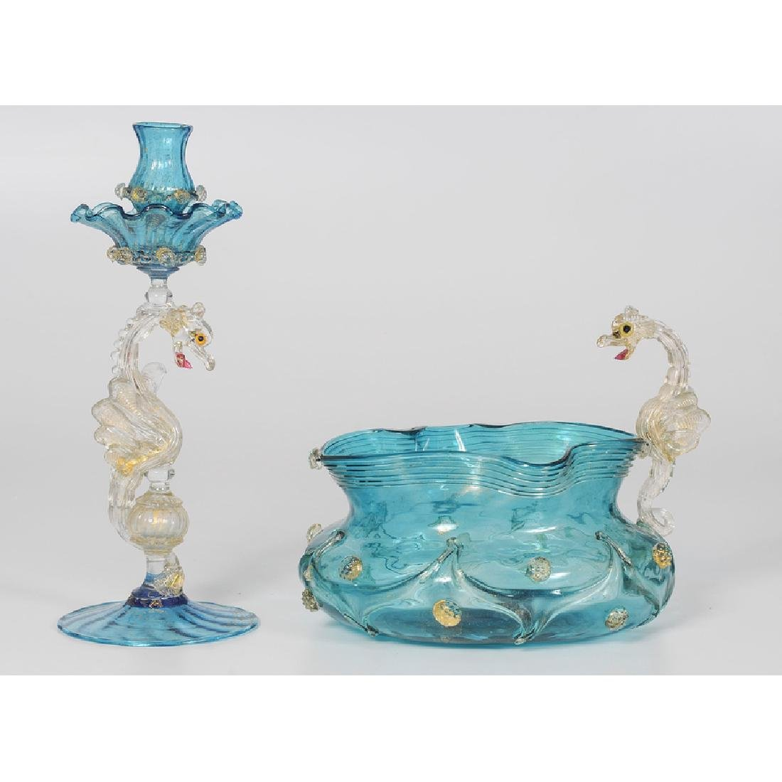 Venetian Glass Candlestick and Bowl