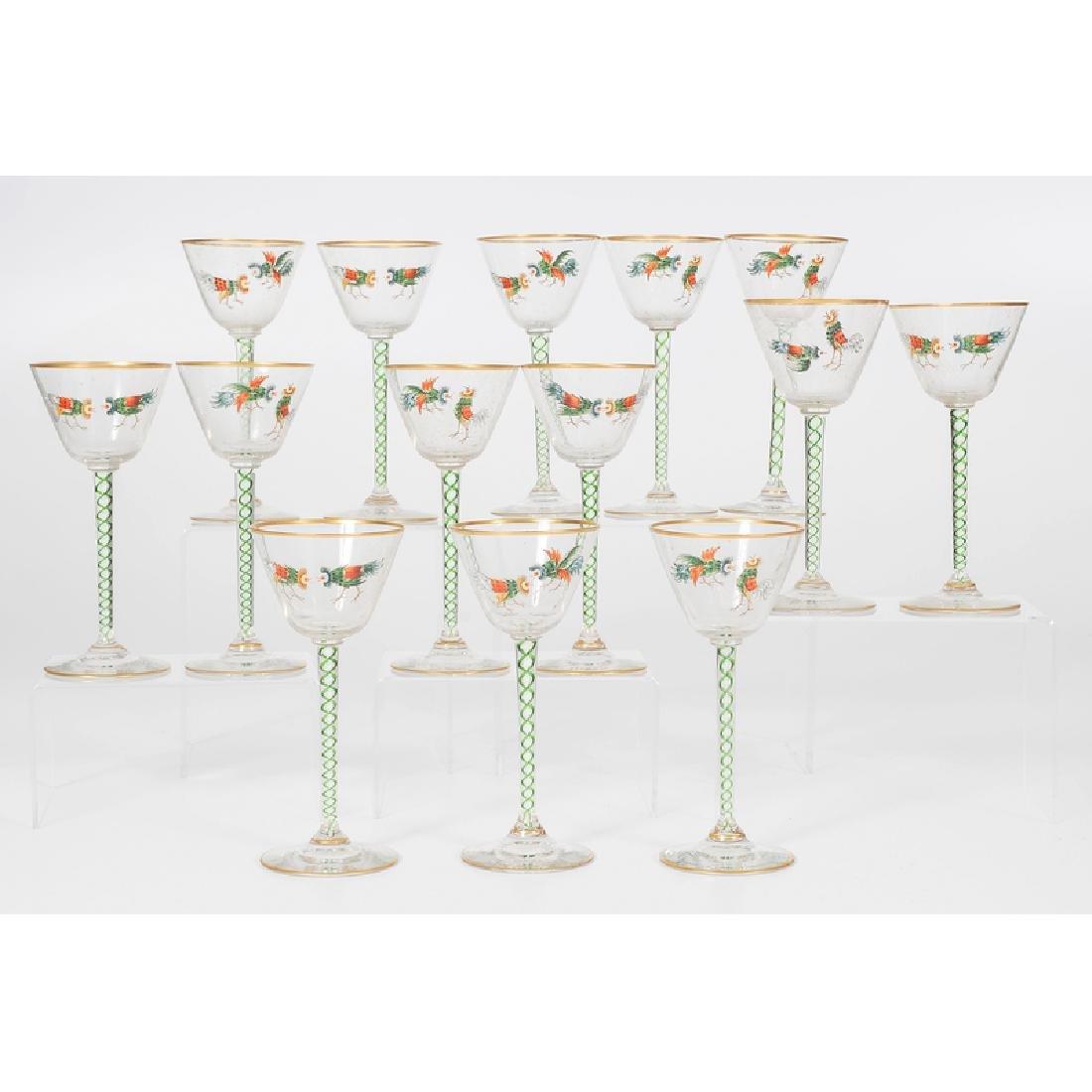 Threaded Glass Wine Glasses