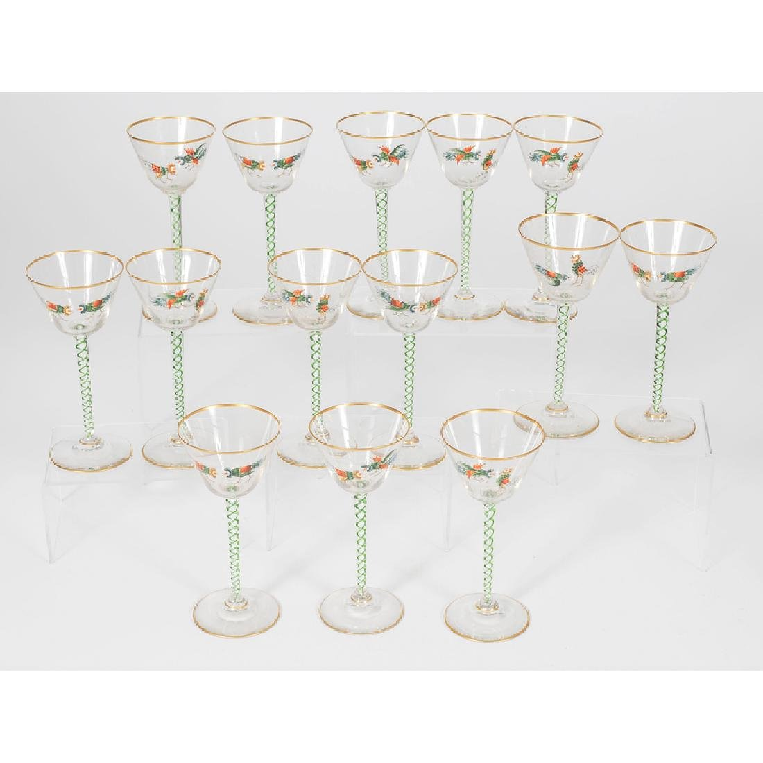 Threaded Glass Wine Glasses - 2